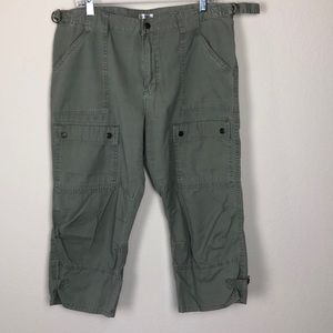 4/$25 army green adjustable cotton capris
